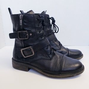 Lucky Brand Nolan Leather Moto Boots 9.5